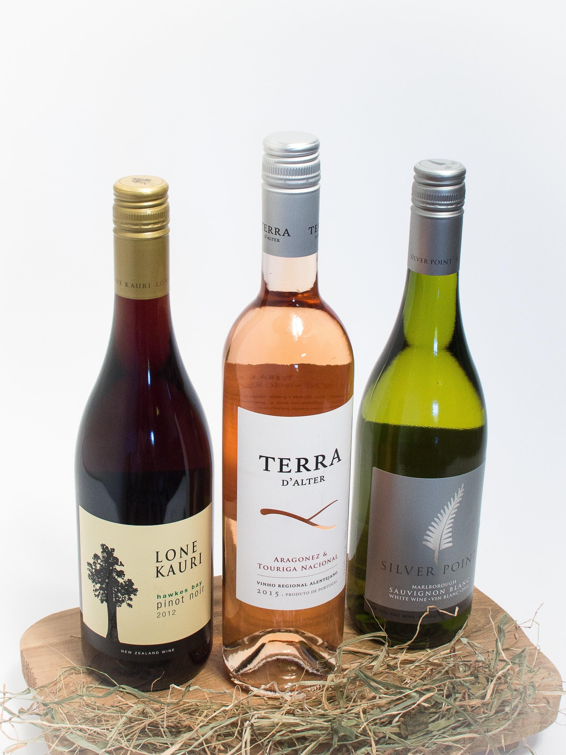 Gavesæt med tre skønne vine